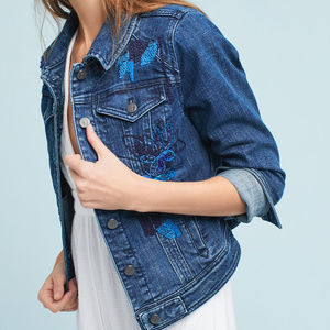 PILCRO sequined denim jacket embroidered Q8